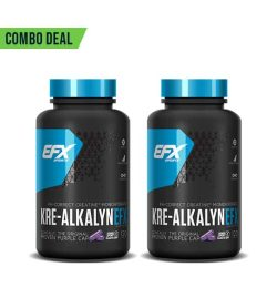 Combo deal 2 black and blue containers with blue lid of EFX Sports KRE-AlkalynEFX contains 120 original purple cap capsules each
