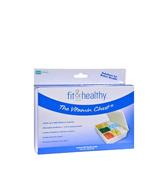 White and blue container of Fit & Healthy The Vitamin Chest shows open white box of multi coloured pills inside