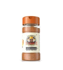 Clear bottle with orange cap of FlavorGod Buffalo Seasoning contains brown powder net wt 4oz (113g)