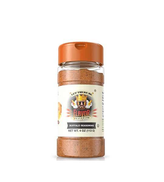 Clear bottle with orange cap of FlavorGod Buffalo Seasoning contains brown powder net wt 4oz (113g)