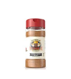 Clear bottle with red cap of FlavorGod Everything Spicy contains brown powder shown in white background