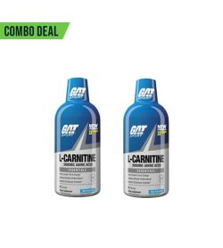 Combo deal 2 white and blue bottles with blue cap of GAT L-Carnitine 3000 mg amino acid Essentials shown in white background