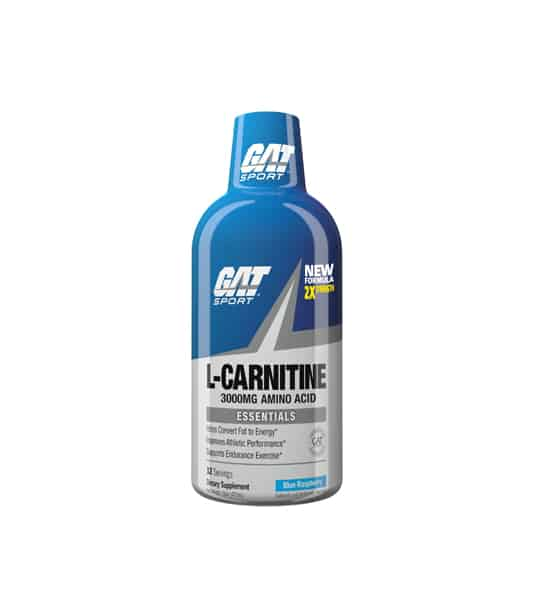 Blue bottle with blue cap of GAT Sport L-Carnitine New Formula 3000 mg amino acid Essentials
