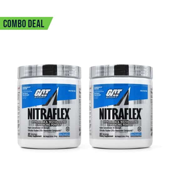 Combo deal of 2 GAT Sport Nitraflex in white and blue container