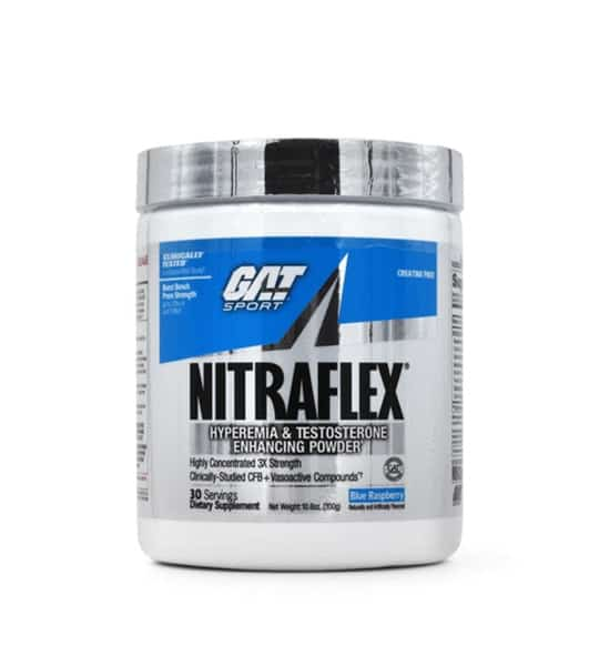 White and blue container with silver cap of GAT Sport Nitraflex contains 30 servings