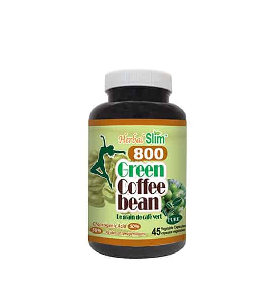 Black bottle with white cap of Herbal Slim 800 Green Coffee Bean pure contains 45 vegetable capsules