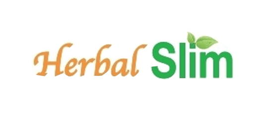 Herbal Slim logo orange and green font with white oval background