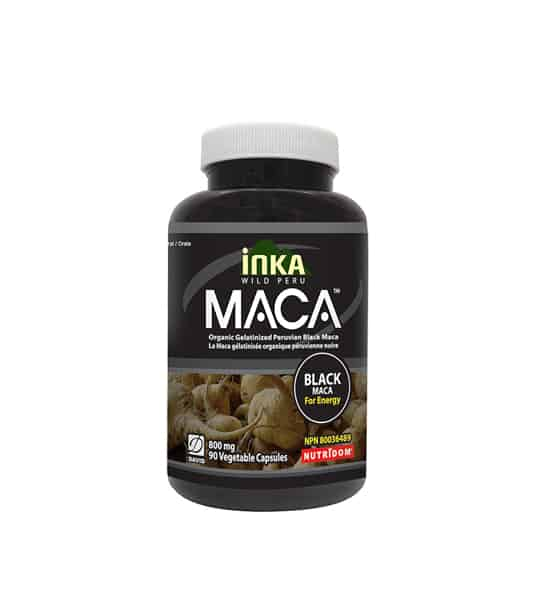 Black bottle with white cap of Inka Wild Peru MACA containing 90 vegetable capsules of 800mg Black Maca for Energy