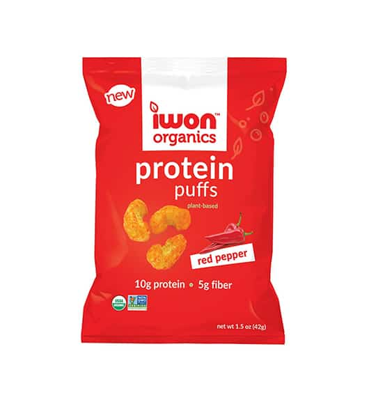 Red pouch of new Iwon Organics Protein Puffs with Red Pepper flavour containing net wt 1.5 oz (42 g), 10 g protein and 5 g fiber