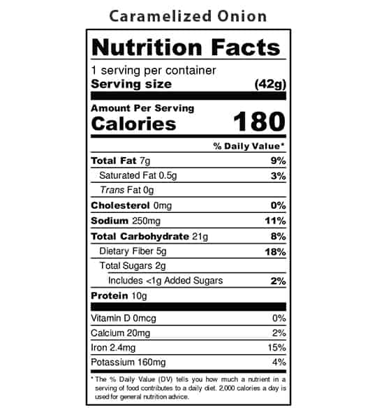 Nutrition facts panel of Iwon Organics Protein Puffs Caramelized Onion for serving size 42 g with 1 serving per container