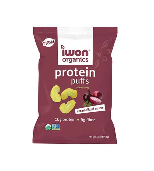 Purple pouch of New Iwon Organics Protein Puffs with Caramelized Onion containing net wt 1.5 oz (42 g), 10 g protein and 5g fiber