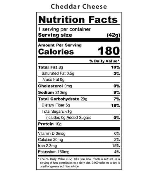Nutrition facts panel of Iwon Organics Protein Puffs Cheddar Cheese showing black text in white background