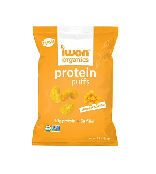 Yellow pouch of New Iwon Organics Protein Puffs with Cheddar Cheese flavour containing net wt 1.5 oz (42 g), 10 g protein and 5 g fiber