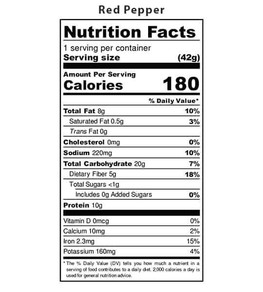 Nutrition facts panel of Iwon Organics Protein Puffs Red Pepper showing black text in white background