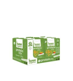 Green and white box of New Iwon Organics Protein Stix contains 8 pouches each containing 10g protein and 5g fibre