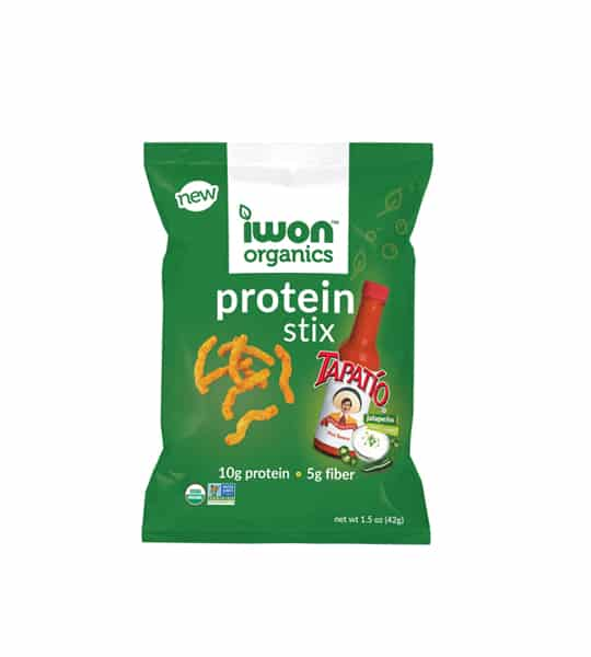Green pouch of New Iwon Organics Protein Stix with Tapatio flavour with net wt 47g, 10g protein and 5g fiber