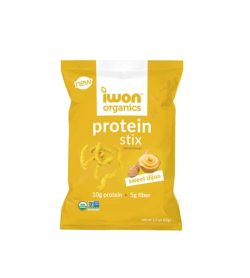 Yellow pouch of New Iwon Organics Protein Stix with Sweet Dijon flavour with net wt 47g, 10g protein and 5g fiber