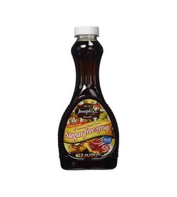 Clean bottle contains brown liquid with white cap of Joseph's Sugar Free Syrup contains 12 fl. oz (354ml)