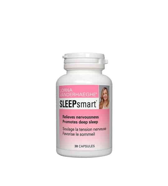 White container with pink label of Lorna Vanderhaeghe Sleep Smart Relieves Nervousness contains 30 capsules