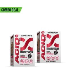 Combo deal 2 white and pink boxes of Magnum Acid Isolate Pharmaceutical Grade CLA Isolate dietary supplement showing grey capsule on the package