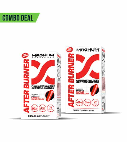 Combo deal 2 white and red boxes of Magnum After burner Pharmaceutical Bedtime Burner dietary supplement showing red capsule on the package
