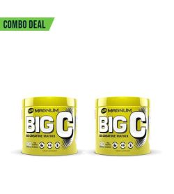 Combo deal 2 shiny yellow containers with yellow lid of Magnum Big C 50 Creatine Matrix shown in white background