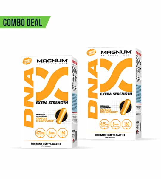 Combo deal 2 white and yellow boxes of Magnum DNA Extra Strength dietary supplement showing yellow capsule on the package