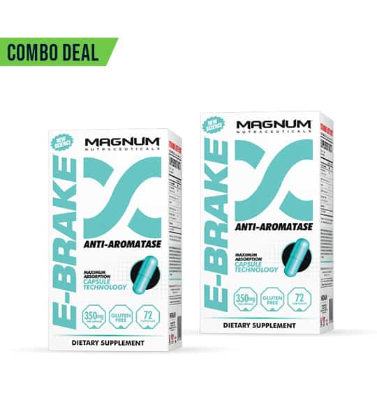 Combo deal 2 white and blue boxes of Magnum E-Brake Anti-Aromatase dietary supplement showing blue capsule on the package