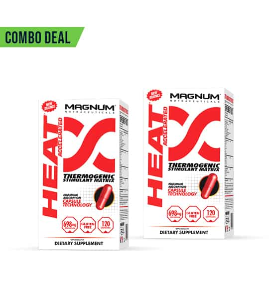 Combo deal 2 white and red boxes of Magnum Heat Accelerated Thermogenic Stimulant Matrix dietary supplement showing red capsule on the package