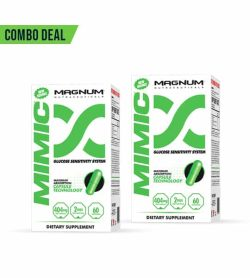 Combo 2 white and green boxes of Magnum Mimic Glucose Sensitivity System dietary supplement shows green capsule in the package
