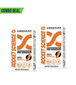 Combo deal 2 white boxes with orange text of Magnum Rocket Science Concentrated Pre-Workout dietary supplement