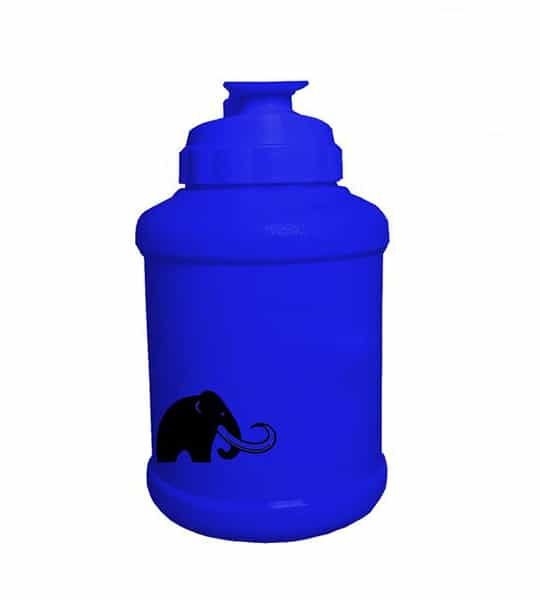 Matte Blue Mammoth Mug showing mammoth picture in black and product in white background