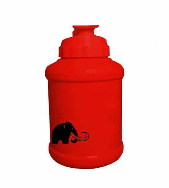 Matte Red Mammoth Mug showing mammoth picture in black and product in white background