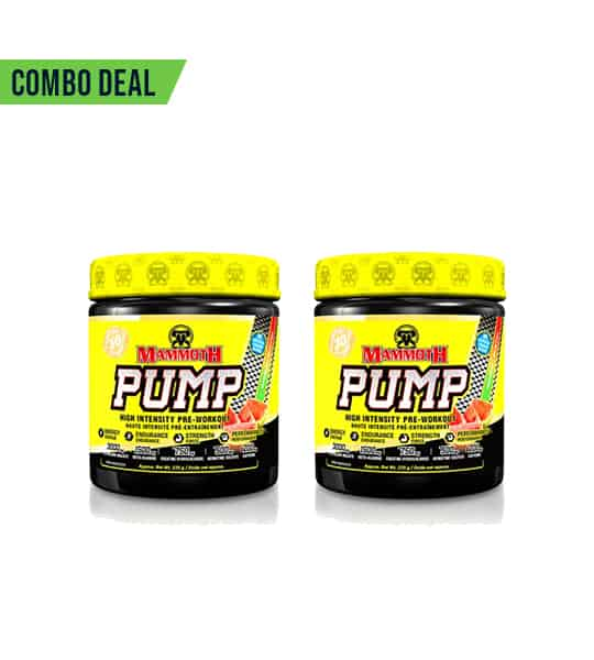 Combo deal 2 black and yellow containers with yellow cap of Mammoth PUMP shown side by side in white background