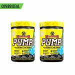 Combo deal 2 yellow bottles with yellow cap of Mammoth PUMP High intensity pre-workout shown side by side