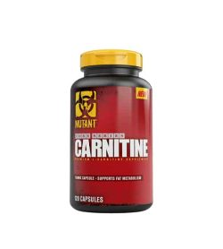 Red and black container with yellow lid of Mutant Core Series Carnitine contains 120 capsules