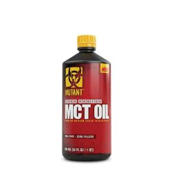 Red and black bottle with yellow cap of Mutant Core Series MCT Oil contains 32 fl oz