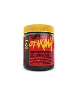 Red and black container with yellow lid of Mutant CreaKONG new look Kong Sized 3-Creatine Blend