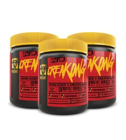 Combo deal 3 Red and Black containers with yellow lids of Mutant CreaKONG new look Kong Sized 3-Creatine Blend