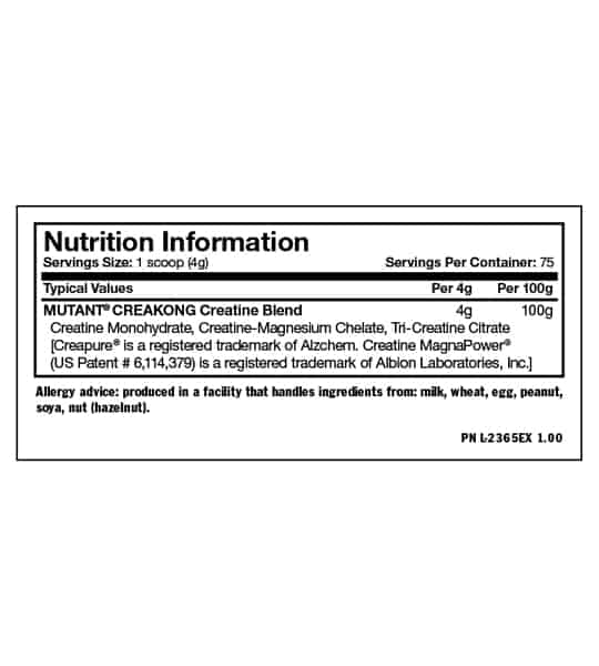 Nutrition information and allergy advice of Mutant Creakong serving size 1 scoop (4 g) with 75 servings per container