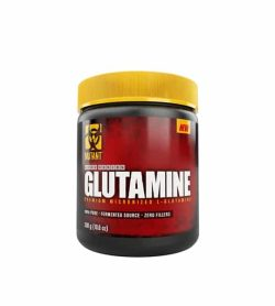 Red and black container with yellow lid of Mutant Core Series Glutamine Fermented Source contains 300 g