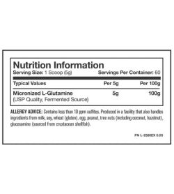 Nutrition Information panel of Mutant Glutamine serving size 1 scoop (5 g) with 60 servings per container