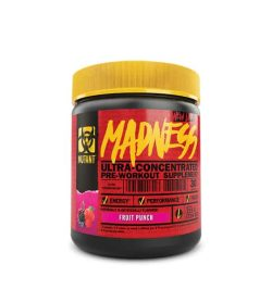 Red and black container with yellow lid of Mutant Madness Ultra-concentrated pre-workout supplement with Fruit punch flavour