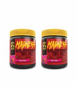 Combo deal 2 red and black containers with yellow lids of Mutant Madness Ultra-concentrate pre-workout supplement with Fruit Punch flavour