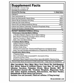 Supplement facts and ingredients panel of Mutant Madness serving size 1 scoop (7.5 g) with 30 servings per container