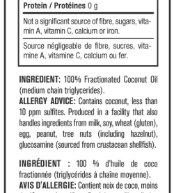 Nutrition facts and ingredients panel of Mutant MCT Oil serving size 1 tbsp (15 ml)