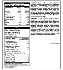 Nutrition facts and ingredients panel of Mutant Pro serving size 1 scoop (31 g)