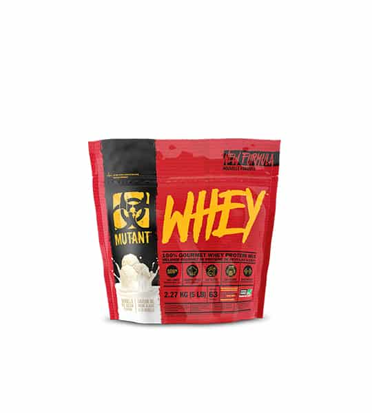 Red and black pouch with Yellow text of Mutant Whey New Formula contains 2.27 kg (5 lb)