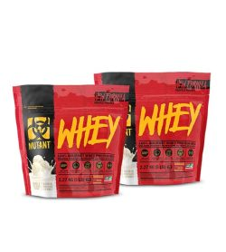 Combo deal 2 red and black pouches with yellow text of Mutant Whey new formula contains 2.27 kg (5 lb) each