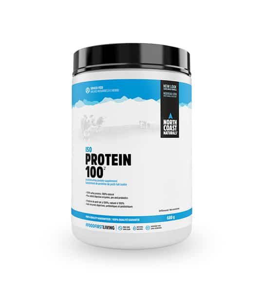 White and blue container with black lid of North Coast Naturals ISO Protein 100 contains 620 g